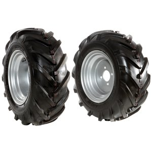 "Pair of tyred wheels 16-6.50/8"" - Fixed disc"