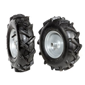 Pair of tyred wheels 3.50x6 - Fixed disc
