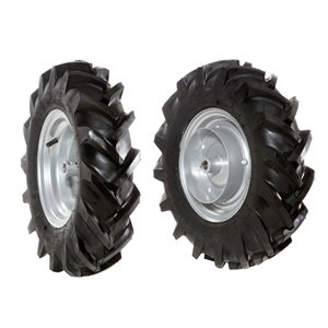 Pair of tyred wheels 4.00x8 - Fixed disc, Quickfit coupling - 6920 9020A