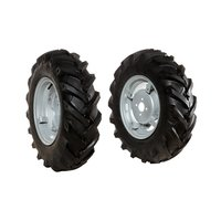 "Pair of tyred wheels 6.5/80x12"" - Adjustable disc"