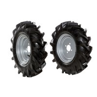 "Pair of tyred wheels 4.00x8"" - Fixed disc"