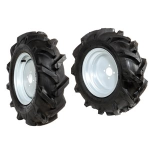 Pair of tyred wheels 4.00x10 - Fixed disc