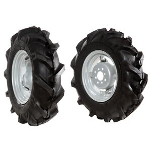 Pair of tyred wheels 5.00x10 - Adjustable disc
