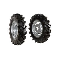 "Pair of tyred wheels 5.00x12"" - Adjustable disc"