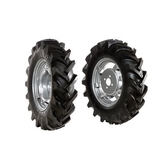 Pair of tyred wheels 5.00x12 - Adjustable disc - 6920 9002B