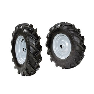 Pair of tyred wheels 4.00x8 - Fixed disc, Quickfit coupling - 6920 9110