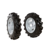 "Pair of tyred wheels 4.00x10"" - Adjustable disc"