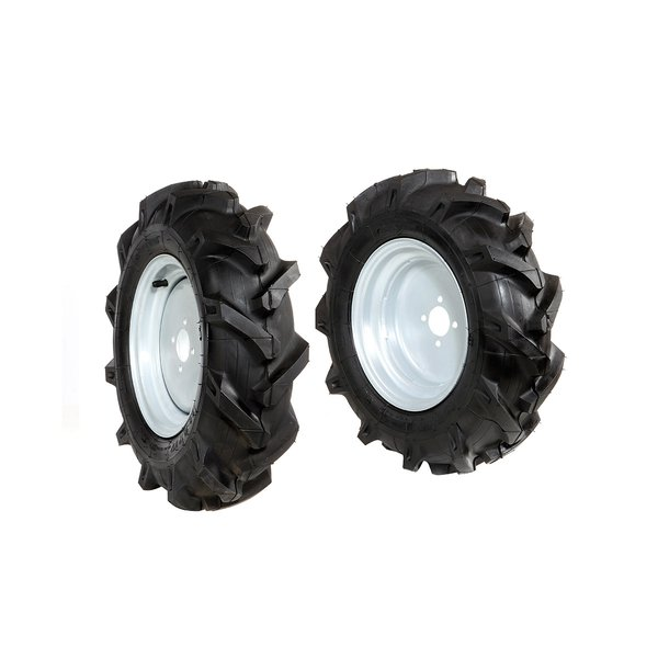 Pair of tyred wheels 5.00x10 - Fixed disc