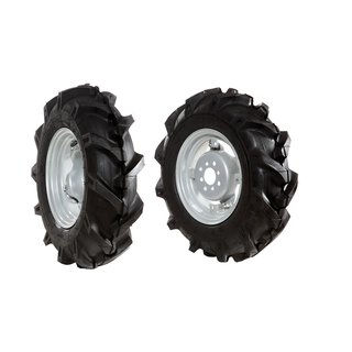 "Pair of tyred wheels 5.00x10"" - Adjustable disc"